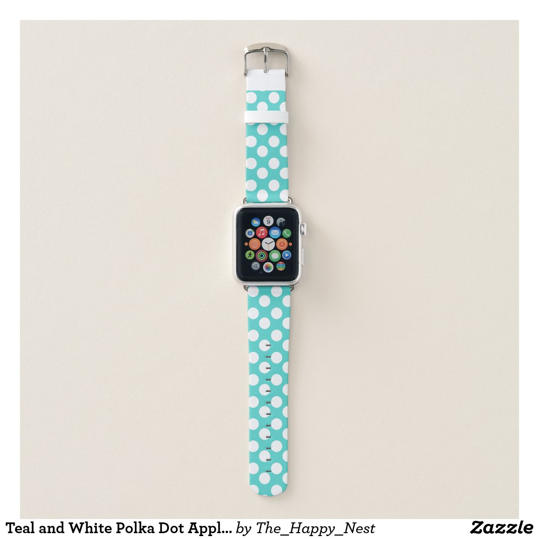 Teal and White Polka Dot Apple Watch Band