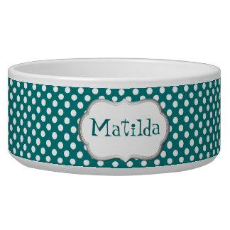 Teal and White Polka Dot Custom Dog Bowl