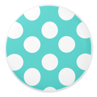 Teal and White Polka Dot Furniture Knob Ceramic Knob