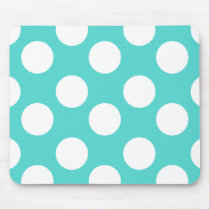 Teal and White Polka Dot Mouse Pad