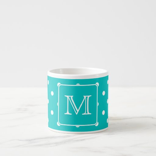 Teal and White Polka Dot Pattern. Custom Monogram. 6 Oz Ceramic Espresso Cup