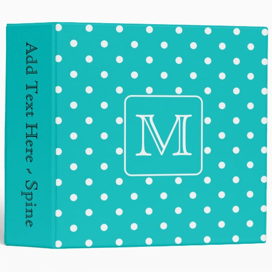 Teal and White Polka Dot Pattern. Custom Monogram. Binder