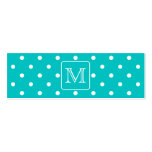Teal and White Polka Dot Pattern. Custom Monogram. Double-Sided Mini Business Cards (Pack Of 20)