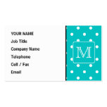 Teal and White Polka Dot Pattern. Custom Monogram. Double-Sided Standard Business Cards (Pack Of 100)