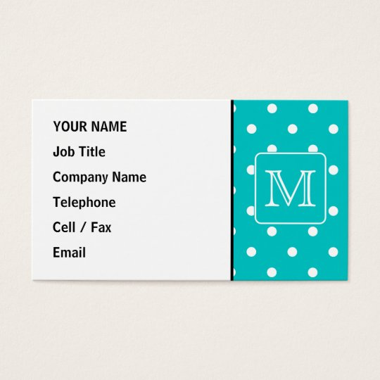 Teal and White Polka Dot Pattern. Custom Monogram. Business Card
