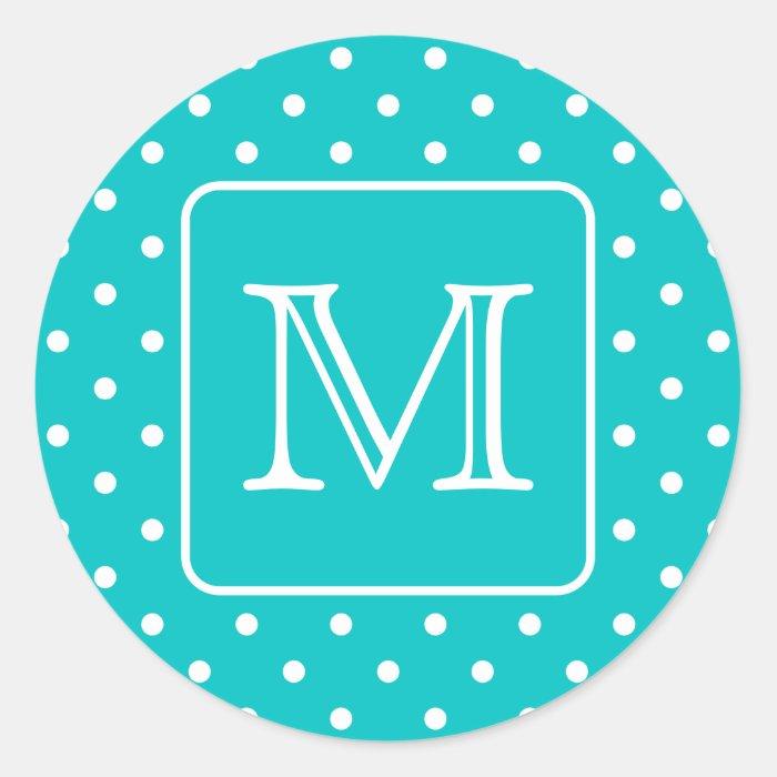 Teal and White Polka Dot Pattern. Custom Monogram. Classic Round Sticker