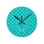 Teal and White Polka Dot Pattern. Custom Monogram. Clocks