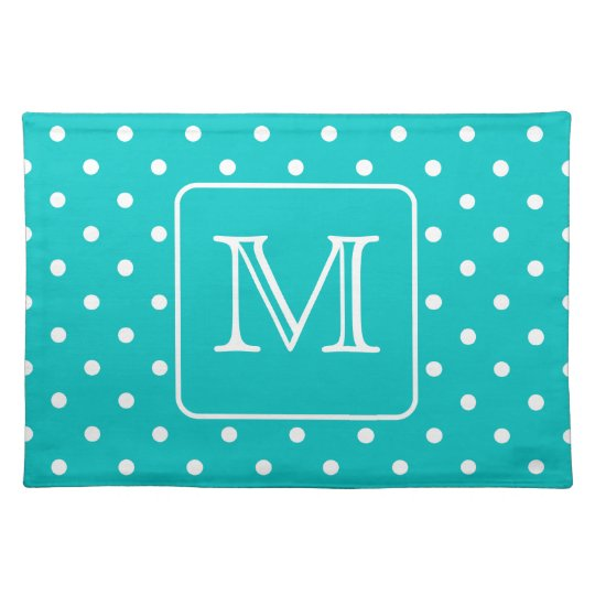 Teal and White Polka Dot Pattern. Custom Monogram. Cloth Placemat