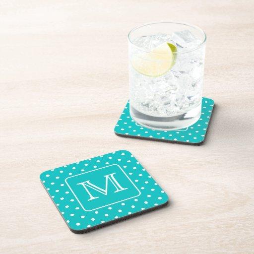 Teal and White Polka Dot Pattern. Custom Monogram. Beverage Coaster