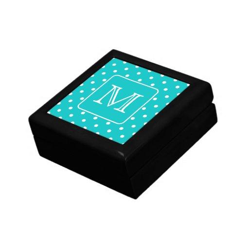 Teal and White Polka Dot Pattern. Custom Monogram. Gift Box