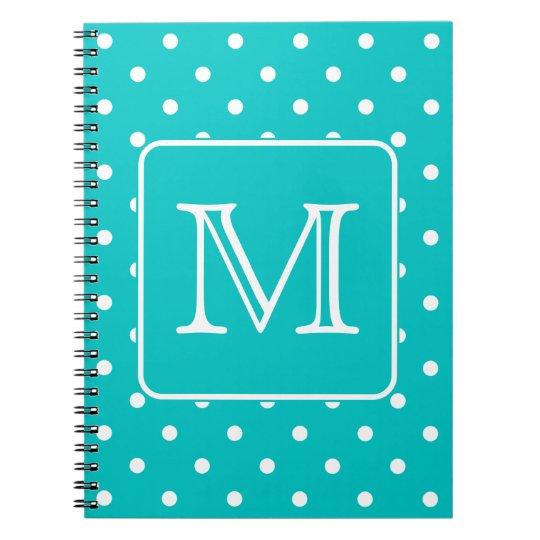 Teal and White Polka Dot Pattern. Custom Monogram. Notebook