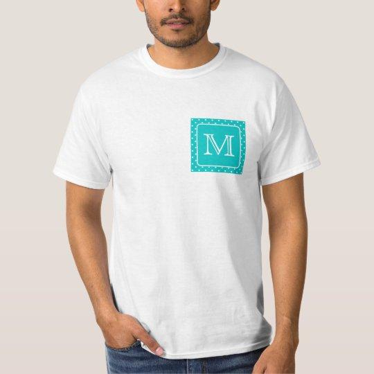Teal and White Polka Dot Pattern. Custom Monogram. T-Shirt