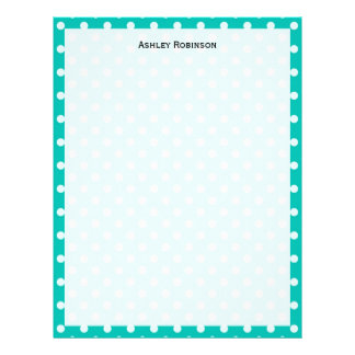Teal and White Polka Dot Pattern Letterhead