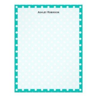 Teal and White Polka Dot Pattern Letterhead