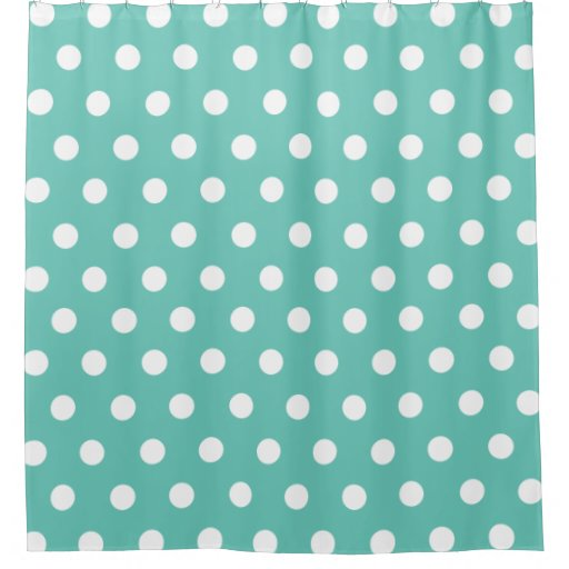 Teal And White Polka Dot Pattern Shower Curtain