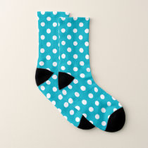 Teal and White Polka Dot Pattern Socks