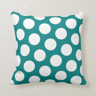 Teal and  White Polka Dot Pillow
