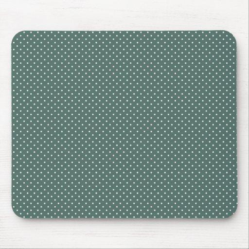 Teal and white polka dot print mouse pad