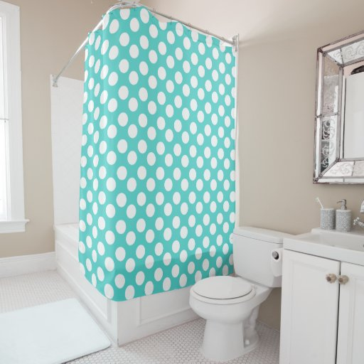teal and white polka dot shower curtain zazzle. Black Bedroom Furniture Sets. Home Design Ideas