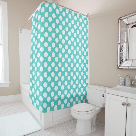 teal and white polka dot shower curtain. Black Bedroom Furniture Sets. Home Design Ideas