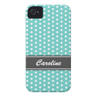 Teal and white polka dots BlackBerry Bold case