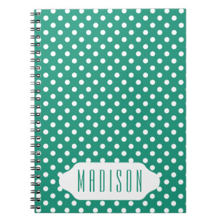 Teal and white polka dots custom notebook