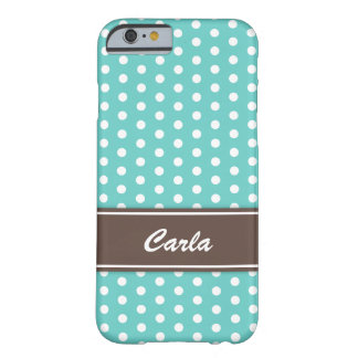 Teal and white polka dots iPhone 6 case