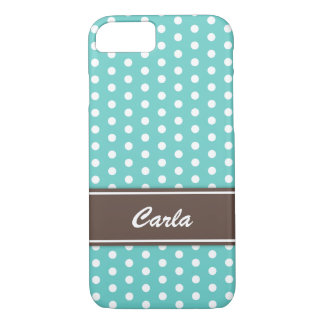 Teal and white polka dots iPhone 7 case