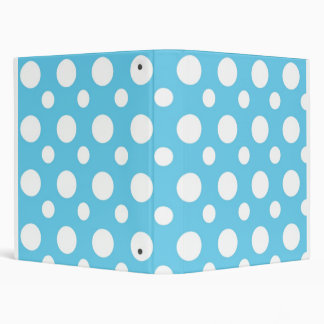 Teal And White Polka Dots School Notebook 3 Ring Binder
