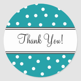 Teal and White Polka Dots- Thank You Classic Round Sticker