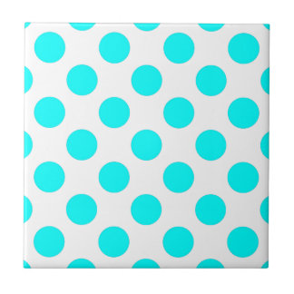 Teal and White Polkadots Ceramic Tile