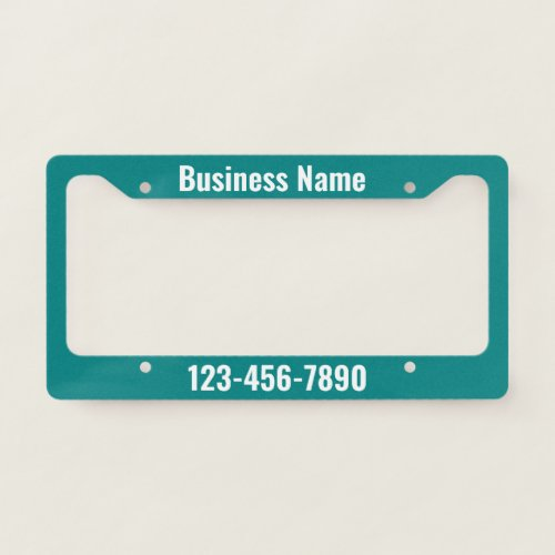 Teal and White Promotional Template License Plate Frame