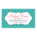 Teal and White Quatrefoil Business Card Template