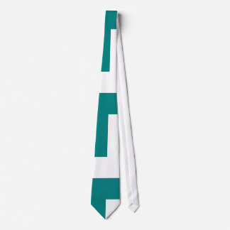 Teal and White Rectangle Tie