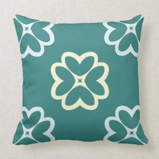 Teal and White Reversible Floral Pattern Pillow