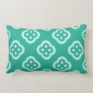 Teal and White Reversible Kaleidoscope Pattern Pillows