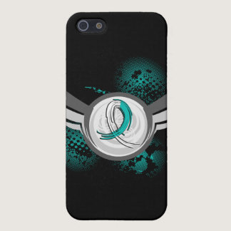 Teal And White Ribbon And Wings Cervical Cancer iPhone SE/5/5s Cover