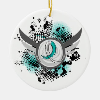 Teal And White Ribbon And Wings Cervical Cancer Christmas Tree Ornament
