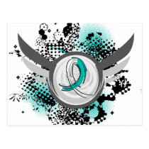 Teal And White Ribbon And Wings Cervical Cancer Postcard