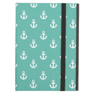 Teal and White Ships Anchors Pattern Case For iPad Air