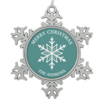 Teal and White Snowflake Pewter Christmas Ornament