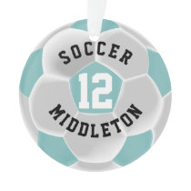 Teal and White Soccer Sport Ball Ornament