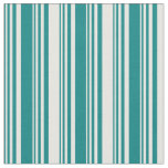 [ Thumbnail: Teal and White Striped/Lined Pattern Fabric ]