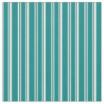 [ Thumbnail: Teal and White Striped Pattern Fabric ]