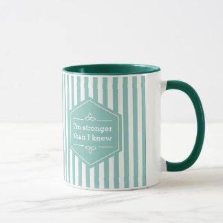 Teal and White Stripes Motivational Saying Mug
