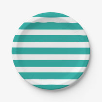 Teal and White Stripes Paper Plate