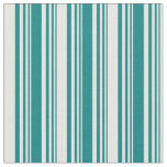 [ Thumbnail: Teal and White Stripes Pattern Fabric ]