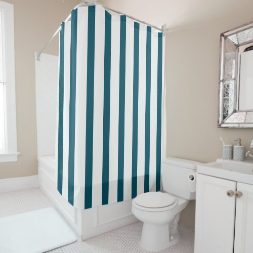 Teal and White Stripes Shower Curtain