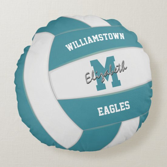 teal and white team colors girls boys volleyball round pillow