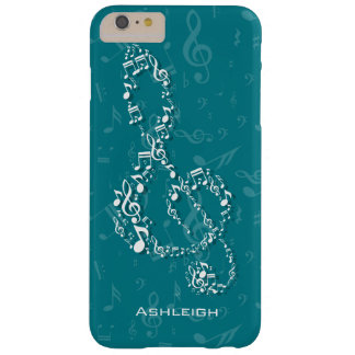 Teal and White Treble Clef Music Notes Barely There iPhone 6 Plus Case